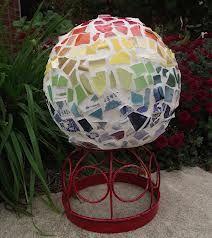Rainbow mosaic bowling ball for garden art...