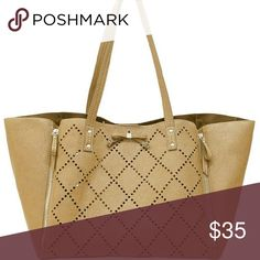 """Perforated Bag Vegan leather perforated diamond cut bag in light camel. Magnetic snap closure. Small zipper compartment inside plus large removable zip pouch inside (2nd picture shows how you snap it on to bottom). Comfortable double handle. Flat bottom adds structure. All four sides unzip and expand to make bag larger!  18""""L x 10.5""""H x 6.5""""D  Strap drop 10.5"""" Great condition! ***Actual color is a tone between the cover shot and the last pictures. Jessica Simpson Bags"""