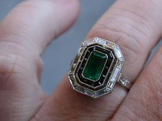 Platinum Art Deco Vintage Natural Emerald Onyx and Diamond