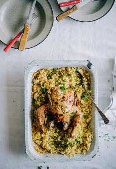 Roast Chicken with Orzo-Kota me Kritharaki