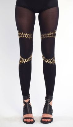 NEW Solaris gold on black leggings one size the by galstern, $39.00