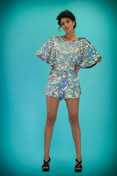 Image of PRISM Collection | MELLA Sequin Cape Playsuit | hologram silver