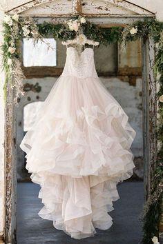 Unique tulle lace long wedding dress, tulle bridal dress