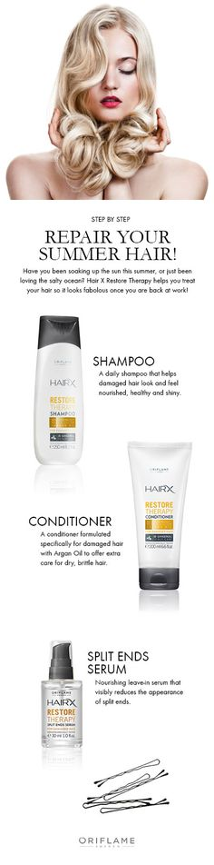 Had too much fun in the sun? Don't worry, using the HairX Restore Therapy products will make your hair look healthy and gorgeous again - just in time to get back to work!