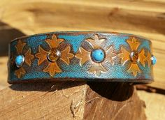 Boho Leather Cuff-BrownOrange with Amber by LeatherVision on Etsy