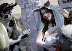Pagan Ritual Zoo Mashup In This Picture: Photo of people in animal costumes with pig