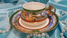 Your attention is invited to a gorgeous fantastic coffee tea set released on the famous Russian Lomonosov factory (now an Imperial factory). Brand new. In exelent condition! In the box of factory. No damage, no defect! This tea set fully hand painted and embellished with 22 karat gold! A