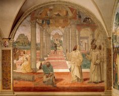 Benedict watching over construction of monastery, scene from Stories of Saint Benedict in Monte Oliveto Maggiore, by Sodoma (1477-1549), frescoes, Abbey of Monte Oliveto Maggiore, Asciano, Detail. Italy, 1505