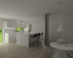 Proyecto en Madrid Cocina Santos, Modelo Line L, Blanco Brillo