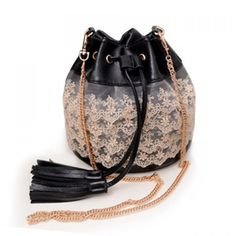 Sweet Lace and Tassels Design Crossbody Bag For Women, BLACK in Crossbody Bags | DressLily.com