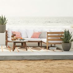 Garden party. Perfect for the avid entertainer, the Jardine Sectional brings the function and comfort of our seating sets outside. Crafted from FSC-certified tropical wood in a driftwood finish, its neutral color is perfect for creating your own outdoor style for the summer.