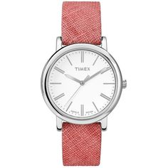 Timex Women's Originals Linen-Strap Watch ($35) ❤ liked on Polyvore featuring jewelry, watches, red, dial watches, quartz movement watches, water resistant watches, timex watches and white faced watches