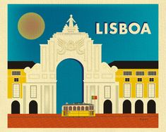 Lisbon Skyline Art Print, Lisboa Travel Print, Horizontal Lisbon Art, Art Arco…