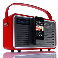 Retro-style FM radio with iPod connector. I love the look of this for the kitchen.