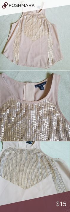 American Eagle Pink Sequin Tank Dusty pink volored chiffon tank with gold sequins on front. High neckline. Zipper in back. Like new comdition. American Eagle Outfitters Tops Tank Tops