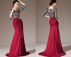 WOW Custom Made New Lace Top & Sleeves Sheath Formal Dress  by STHNAB, $225.00