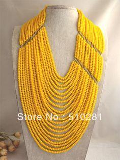 NEW DESIGN!!! FASHION & ELEGANT GOLD CRYSTAL NECKLACE African wedding bridal jewelry $171.36