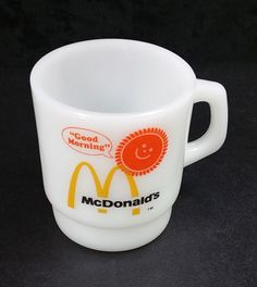 McDonald's Good Morning Anchor Hocking Fire King White Glass Mug Coffee Cup Sun #AnchorHocking
