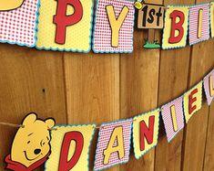 Winnie The Pooh Inspired Jumbo Birthday Banner by SayzItAll