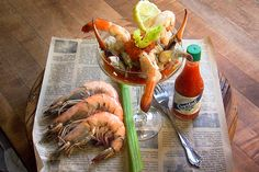 We're taking the Bloody Mary to a whole new level. Seafood Recipes, Cooking Recipes, Cocktails, Drinks, Bloody Mary, Fish And Seafood, Tapas, Appetizers, Yummy Food