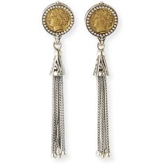 Konstantino Silver & Bronze Coin Tassel Earrings ($455) ❤ liked on Polyvore featuring jewelry, earrings, bronze, silver jewellery, tassle earrings, chain earrings, coin earrings and handcrafted earrings