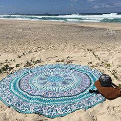 White Multi Birds Elephant Mandala Round Beach Towel Roundie Yoga Mat on RoyalFurnish.com, $19.99