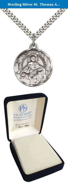 """Sterling Silver St. Thomas Aquinas Pendant with 24"""" Stainless Steel Heavy Curb Chain. Patron Saint of Catholic Schools/Students. Sterling Silver St. Thomas Aquinas Pendant with 24"""" Stainless Silver Heavy Curb Chain. Patron Saint of Catholic Schools/Students. Includes deluxe flip-top gift box. Medal/Pendant measures 7/8"""" x 3/4""""."""