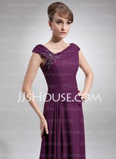A-Line/Princess Off-the-Shoulder Floor-Length Chiffon Mother of the Bride Dress With Ruffle Beading (008006218)