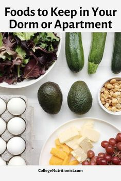 Find the ultimate guide of healthy, low carb, easy pantry and fridge staples to keep in your college dorm or apartment for quick and easy meals! #collegenutritionist #lowcarbdiet #easymeals #quickmeals College Dorm Organization, College Dorm Rooms, Healthy Snacks, Healthy Recipes, Keep On, Quick Meals, Food Inspiration, Pantry, Food To Make