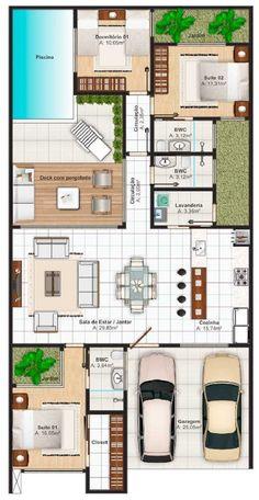 Imagenes de planos de vivienda a color una sola planta #modelosdecasasterrea