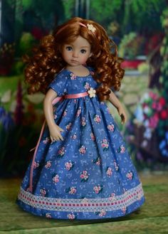 """SOLD - """"Spring Afternoon"""" Regency Dress, Outfit for 13"""" Dianna Effner Little Darling #LuminariaDesigns"""