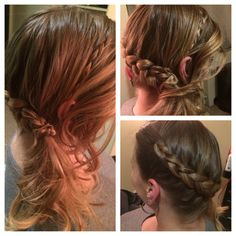 Side hair braid scooped into ponytail wrapped with hair and another braid. Simple and cute.