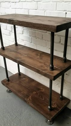Steel and wood bookcase || pipe and wood bookshelf || rustic industrial…