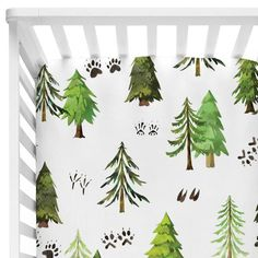 We're in love with this woodland trees & tracks crib sheet!