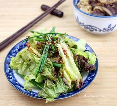 Korean Lettuce Salad (Sangchu Geotjeori).  This quick and easy-to-make salad is a Korean BBQ staple. It's a perfect combo of sweet, salty, and vinegary.