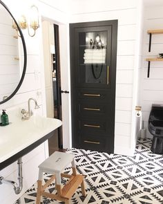 Black and white bathroom/ cement tiles kohler brockway sink Farmhouse bathroom. around bathroom mirror Farmhouse Bathroom Mirrors, Bathroom Mirror Makeover, Bathroom Renos, White Bathroom, Small Bathroom, Master Bathroom, Linen Closet In Bathroom, Bird Bathroom, 50s Bathroom