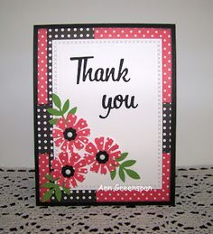 A simple Thank You card with more of my favorite flowers -- Martha Stewart's Cosmos punch. Products Used:  Red and Black dotted pap...