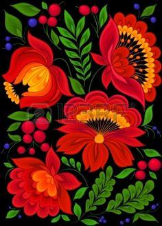 peinture, floral, fond, modèle de conception Banque d'images Folk Art Flowers, Flower Art, Bordado Popular, Mexican Flowers, Polish Folk Art, Scandinavian Folk Art, Mexico Art, Folk Embroidery, Mexican Folk Art