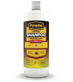Pyranha Pyrethrin Shampoo™ 32 oz. for Dogs and Horses is an insecticidal shampoo rich in coconut conditioners that aid in building body, luster and groom ability to the coat of your animal. It controls stable flies, horse flies, deer flies, face flies, gnats and mosquitoes on horses. For dogs, cats and other small animals, it is highly effective against fleas, ticks and lice when used as directed.
