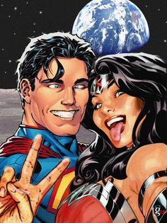 Superman and Wonder Woman Selfie on the Moon.