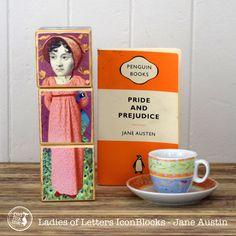 Writers Blocks - Ladies of Letters - featuring Jane Austin, Harper Lee, Alice Walker, Virginia Woolf, JK Rowling and Miles Franklin by redfoxink on Etsy