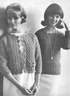 vintage crochet pattern ladies womens shell stitch lace pullover sweater cardigan jacket coat bundle printable pdf download electronic 1960 Gilet Crochet, Knit Crochet, Tunisian Crochet, Crochet Tops, Vintage Knitting, Vintage Crochet, Afghan Crochet Patterns, Knitting Patterns, Lace Cardigan