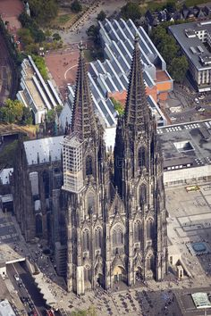 Photo about Beautiful aerial view from cologne with the cologne cathedral. Image of station, gras, aerial - 26338314 Cathedral Architecture, Image Transfers, Cathedrals, Aerial View, Temples, Cologne, Art History, Travel Inspiration, Decoupage