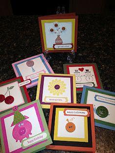 8 great cards using BUtton Buddies by DIana Maslowski