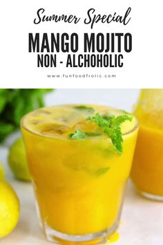 Mango Drinks, Fruit Drinks, Healthy Drinks, Beverages, Summer Drink Recipes, Best Summer Drinks, Nonalcoholic Summer Drinks, Virgin Summer Drinks, Non Alcoholic Mojito