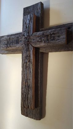 110 year old barnwood cross. Etsy listing at https://www.etsy.com/listing/258689037/110-year-old-barnwood-cross-with-barbed