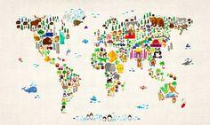carte du monde animaux