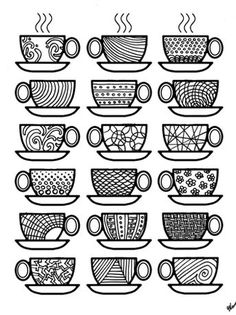 Dont You Just Love Complex Coloring Pages These Free Printable For Adults Come In A Coffee Theme Because Im Obsessed