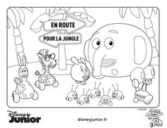 Dibujos para colorear Jungle Junction Jungla Sobre Ruedas Pincha
