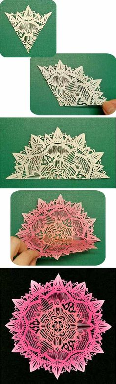 Flower japanese kirigami art (cut paper) by Syandery Paper Crafts Origami, Diy Paper, Fabric Crafts, Kirigami, Cut Out Art, Art Cut, Paper Cutting, Craft Robo, Hobbies And Crafts